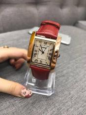 Đồng hồ nữ Skmei vuông da đỏ chống xước, chống nước
