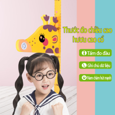 Thước đo chiều cao trẻ em 3D nam châm tấm đo hình hươu cao cổ thước đo em bé dán tường có thể viết bút lên và xóa được đo từ 65cm đến 185cm