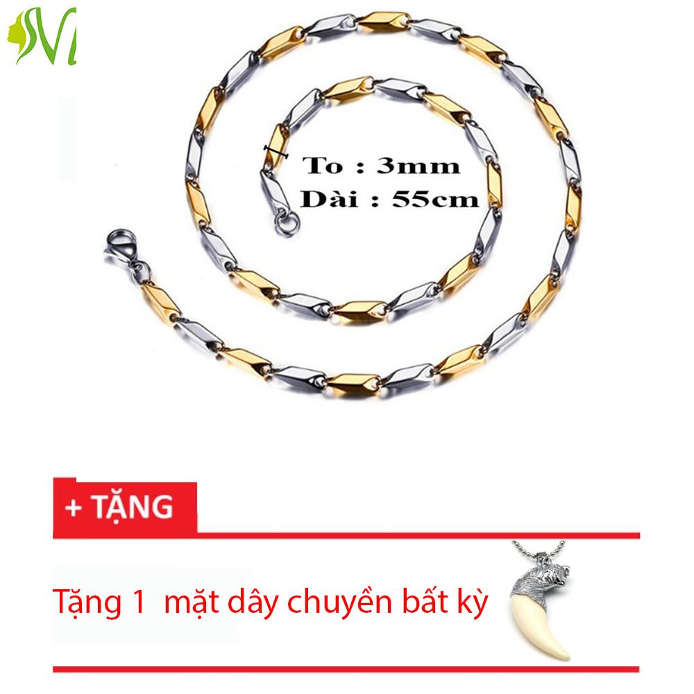 Dây chuyền nam tuổi teen trắng vàng tặng nanh ( 15 ngày đổi trả nếu không đúng hình)