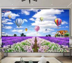 Tranh dán tường 3D Phòng Khách Vườn Hoa Lavender, 338( Đã tích hợp sẵn keo)