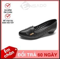 Giày Cao Gót Nữ Đế Cao 3cm Da Mềm Dáng Xinh Đục Lỗ Thoáng Khí Evelynv 3P06LS