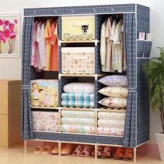 Tủ vải quần áo cao cấp 3 buồng 8 ngăn tủ vải đựng quần áo khung gỗ giá rẻ – TVKG1