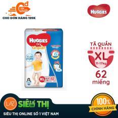 Tã quần Huggies Super Jumbo XL62 (Đệm mây co giãn) – Gói 62 miếng (Cho bé 12kg – 17kg)