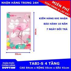 Tủ nhựa Duy Tân TABI-S 4 tầng (Hồng) – Họa tiết ngẫu nhiên