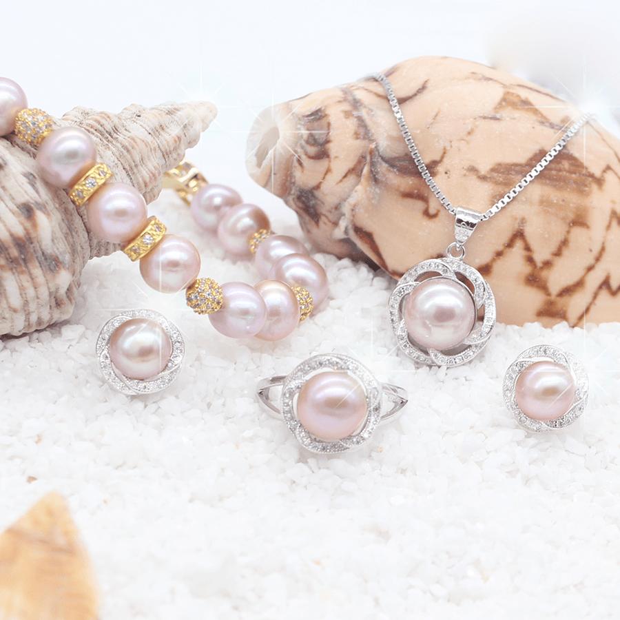 Bộ trang sức ngọc trai trang sức bạc ánh tím độc đáo T4TIM Bảo Ngọc Jewelry
