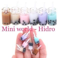 set 4 Mô hình ly trà sữa chai trà sữa dùng cho búp bê. Trà sữa mini. MiniFood . Miniature