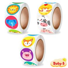 Cuộn 500 sticker, sticker khen thưởng cho bé với nhiều hình thú đáng yêu màu sắc bắt mắt khiến những giờ học của bé thêm sinh động Baby-S – SST012