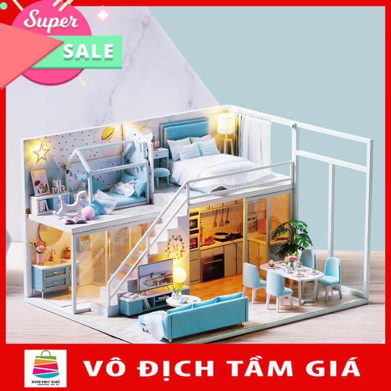 Nhà búp bê barbie bằng gỗ lắp ghép có nội thất và đèn như hình L028 Tặng Mica Diydollhouse