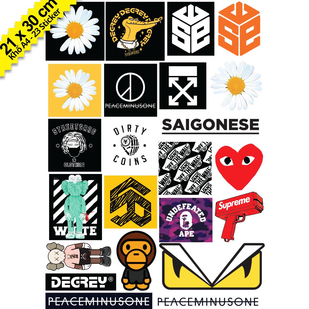 Bộ 23 Hình Dán Sticker Hoa Cúc Hypebeast, Bape, Supreme, Off White, 5theway