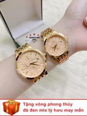 Cặp Đồng hồ đôi nam nữ BAISHUNS dây thép thời thượng có lịch ( BS3902 dây vàng mặt vàng ) – TẶNG 1 vòng tỳ hưu phong thuỷ