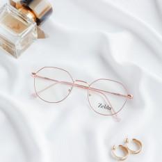 [LẮP SẴN CẬN] Gọng kính cận nữ, Gọng cận kim loại, mắt kính đa giác, tròng kính đổi màu, chống ánh sáng xanh Z29115