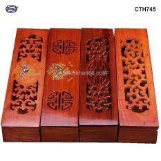 Hộp đựng đũa gỗ hương đỏ – đục khắc tinh tế – HAHANCO – CTH745