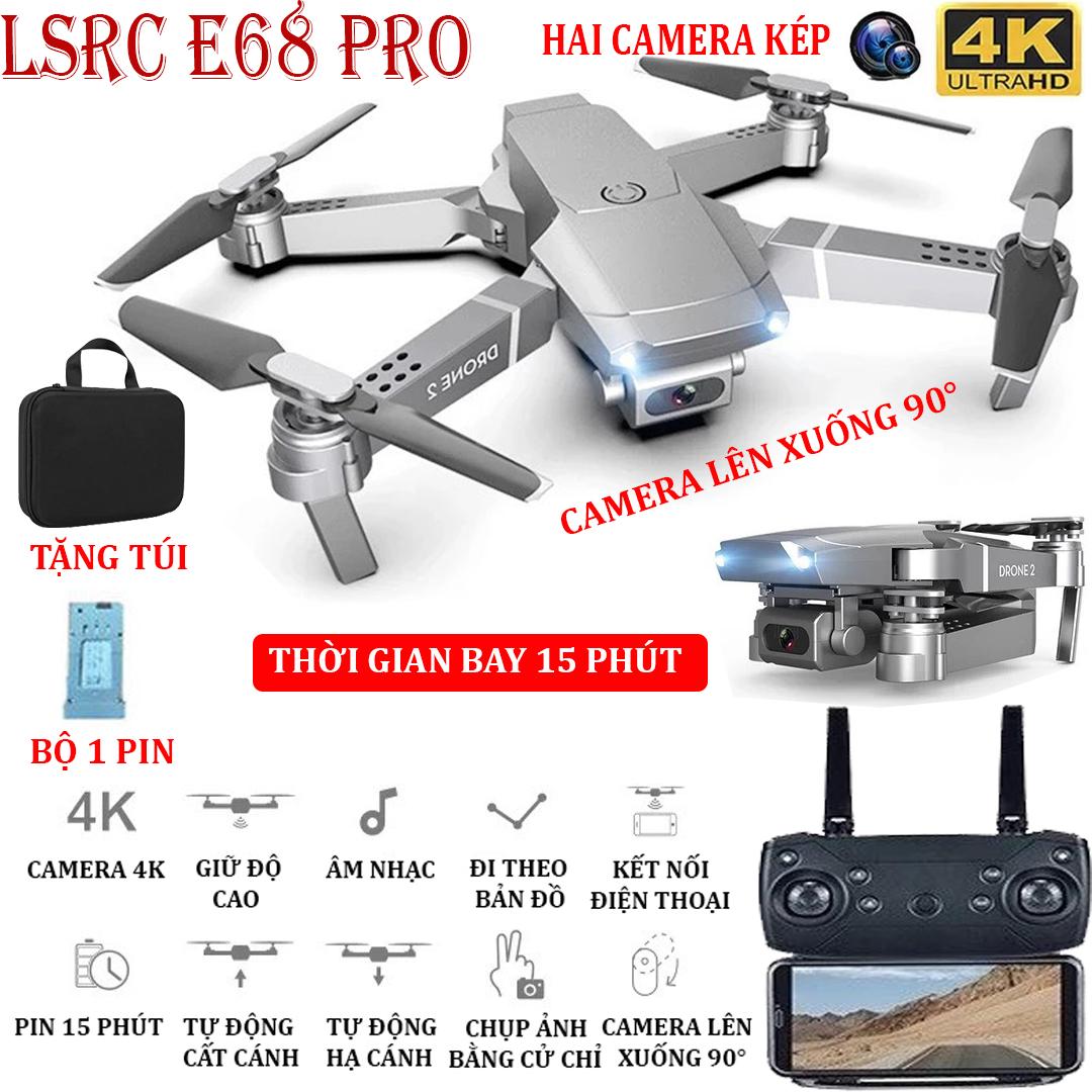 (BỘ 2 PIN + TẶNG TÚI ĐƯNG) Flycam, Flycam điều khiển Giá Rẻ, Flycam mini E68 PRO Camera 4K Hai...