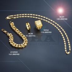 [ Sale khủng ] Combo bộ trang sức nam 4 món ( Dây chuyền Dẹt – Nhẫn chữ phúc – Nhẫn chơn 5 chỉ – Lắc tay ) Mạ vàng 24k công nghệ ITALY