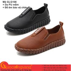 Giày đi học bé trai PU giày học sinh đế bằng chống sốc GLG108