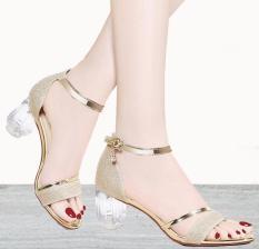 Giày gót vuông nữ gót Mika quai ánh kim- Giày cao gót 5 phân – 2 màu đen- vàng