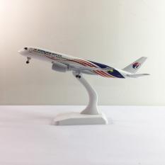 Mô hình máy bay kim loại Malaysia Airlines Trắng dòng Boeing 777 20cm món quà tặng trưng bày mô hình die-cast phù hợp với bàn làm việc, kệ ti-vi, giá sách