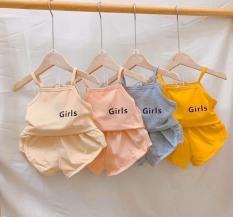 [MẪU MỚI] BỘ HAI DÂY BABY GIRLS CHẤT COTTON MỀM MÁT CHO BÉ YÊU 8-19KG. BIBO BABY SHOP