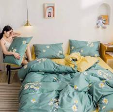 [LIDACO] Bộ chăn ga gối cotton PL1 Cúc nhí xanh SP000882, vải cotton mềm mại, set 4 món bao gồm vỏ chăn ga gối
