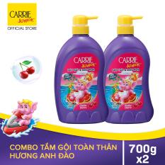 Carrie Junior Combo 2 Sữa tắm gội cho bé hương Cherry (700g/chai)