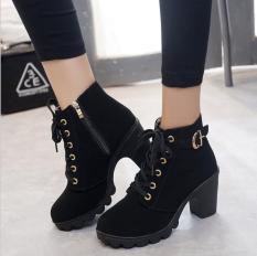 Giày bốt nữ boot nữ 7p cao cổ khóa cài sau-Chuẩn hình