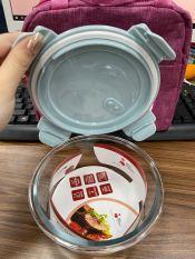 Bát thủy tinh tròn nắp nhựa hút chân không 400ml