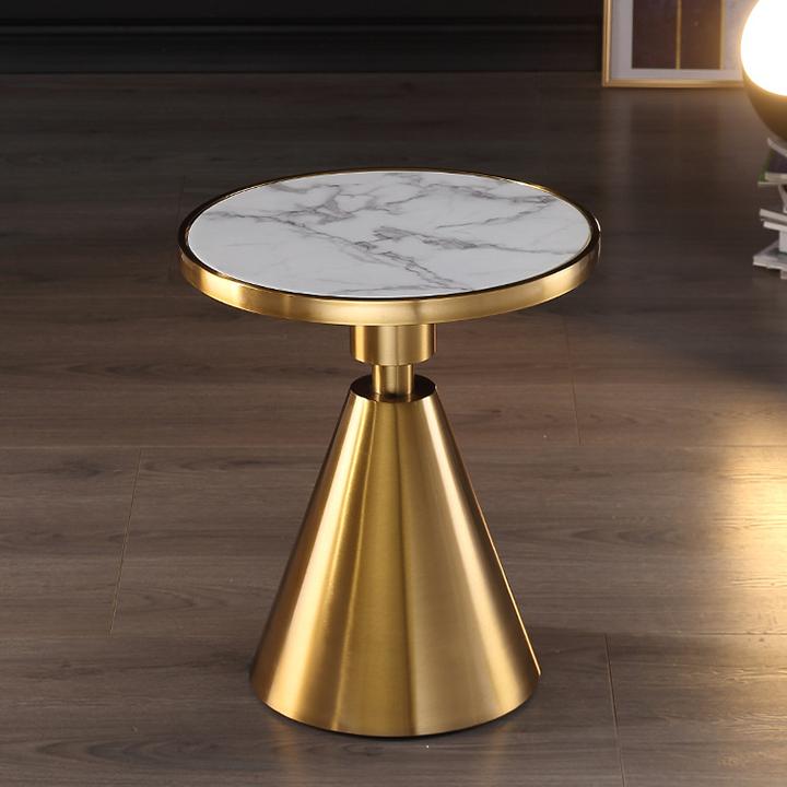 Bàn cà phê hình tròn mặt đá titan chân hợp kim mạ vàng – Bàn trà nhỏ phòng ngủ – Bàn táp sofa phòng khách hiện đại trang trí phòng khách, quán trà, cà phê