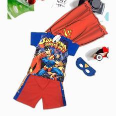 Bộ lửng 3D bé trai in hình siêu nhân superman kèm choàng và mặt nạ
