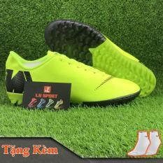 Giày đá bóng giày đá banh sân cỏ nhân tạo MERCURI-X màu xanh chuối dạ quang, siêu bền, đã khâu mũi chắc chắn (Tặng kèm vớ)