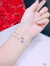 Lắc tay, lắc chân bạc 2 sợi mảnh hình ngôi sao kèm bi