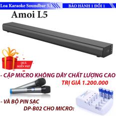 Loa Karaoke cao cấp 5.1 Amoi-L5 Tặng Kèm 2 Micro không dây – Karaoke Soundbar Hát Karaoke cực đỉnh + Tặng bộ pin sạc cho Micro không dây