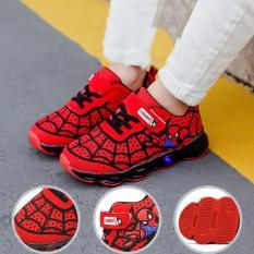 (SIZE 31-38) Giày thể thao siêu nhận nhện có đèn led quai dán ngang tiện lợi thiết kế lưới thoáng khí GD001