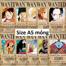 Bộ 10 lệnh truy nã băng Mũ rơm Onepiece Wanted Poster size A5 mỏng