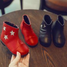 Giày bé gái boot da bóng ngôi sao siêu dễ thương cho bé yêu