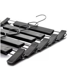Set 10 kẹp quần nhựa đen, thân nhựa đen, đầu kẹp đen và đầu móc đen