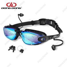 Kính bơi tráng GƯƠNG Ánh Kim 8016 gồm Bịt Tai + Kẹp Mũi, kính bơi ngăn UV thời trang cao cấp – DONGDONG