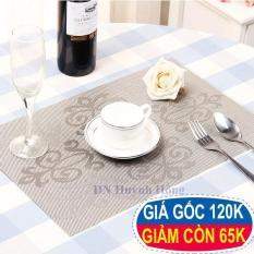 Bộ 4 tấm khăn lót bàn ăn hoa văn cổ điển(Màu xám)