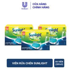 Combo 3 Hộp Viên Rửa Chén Bát Dành Cho Máy Rửa Chén Sunlight (28 viên/hộp x 3)