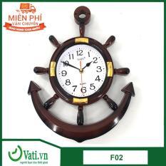 Đồng hồ treo tường Vati mỏ neo F02 ( nâu ) – Sang trọng độc đáo
