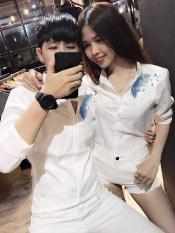 áo sơ mi lụa nam nữ siêu phá cách in logo lá xanh cực giản đơn cho các cặp đôi forever hot 2019 SN333