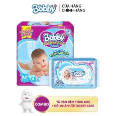 Combo Tã dán Bobby đệm thun thấm mồ hôi M76 và 1 Khăn ướt trẻ em Bobby care không hương 100 tờ