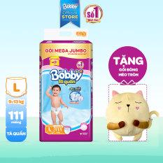 [Tặng gối mèo bông] Tã/bỉm quần Bobby siêu thấm khô thoáng Mega Jumbo L111 (9-13kg) – 111 miếng