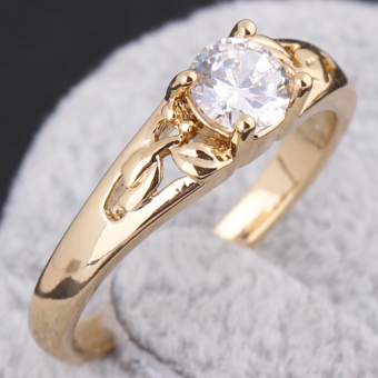 18K Gold Plating Zircon Inlaid Ring 17MM - 4