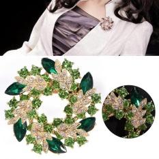 1pc New Fashionable Women Female Round Alloy Rhinestone Crystal Flower Brooch Pin (Green) – intl