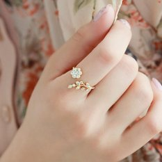 2 cái Nữ Nhẫn Hoa Vàng/Mạ Bạc Mini Ngón Tay Nhẫn Có Thể Điều Chỉnh-quốc tế