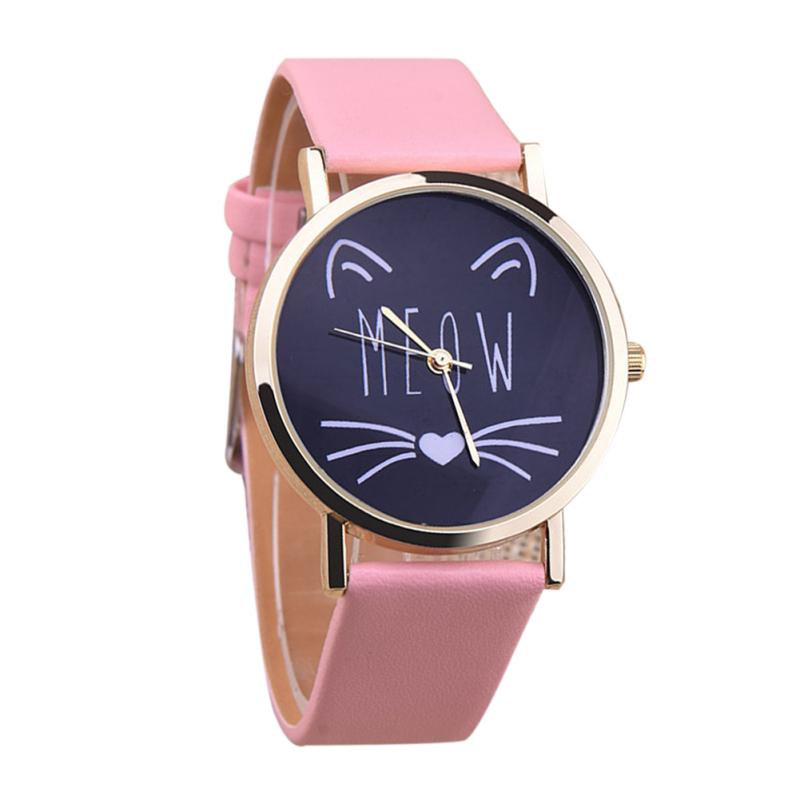 2016 Student Casual Cat Girl Boy Quartz Cartoon Wristwatch (Pink) - intl bán chạy