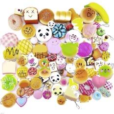 30 Móc treo Chìa khóa Thời trang Mini Kawaii Mềm mại Đàn hồi hình Thức ăn Kích thích Gấu Panda bánh mì Bánh ngọt đeo Nhẫn Khóa Điện thoại Phụ kiện Thời trang Phong cách Ấp Ngẫu nhiên-qtế