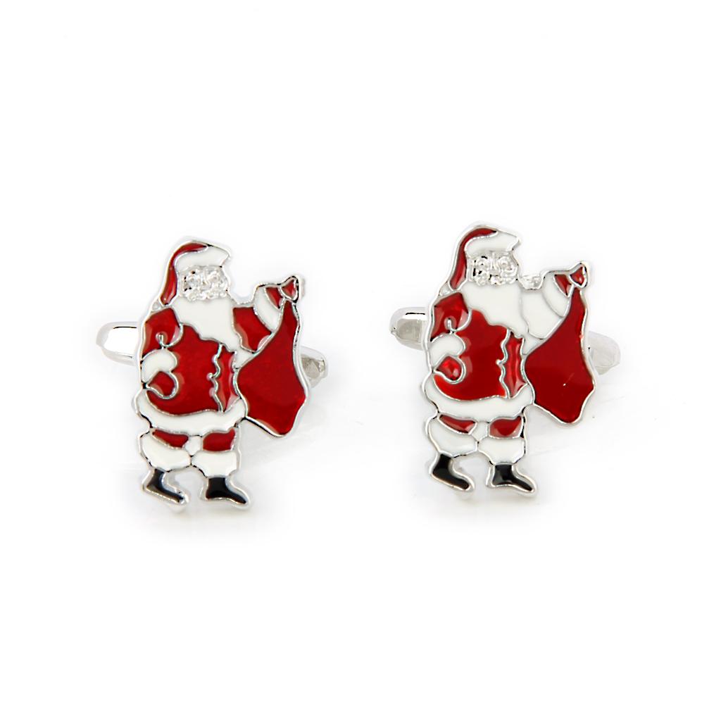 A Pair Men's Santa Claus Shirt Cufflinks Cuff Links Holidays Gift – intl