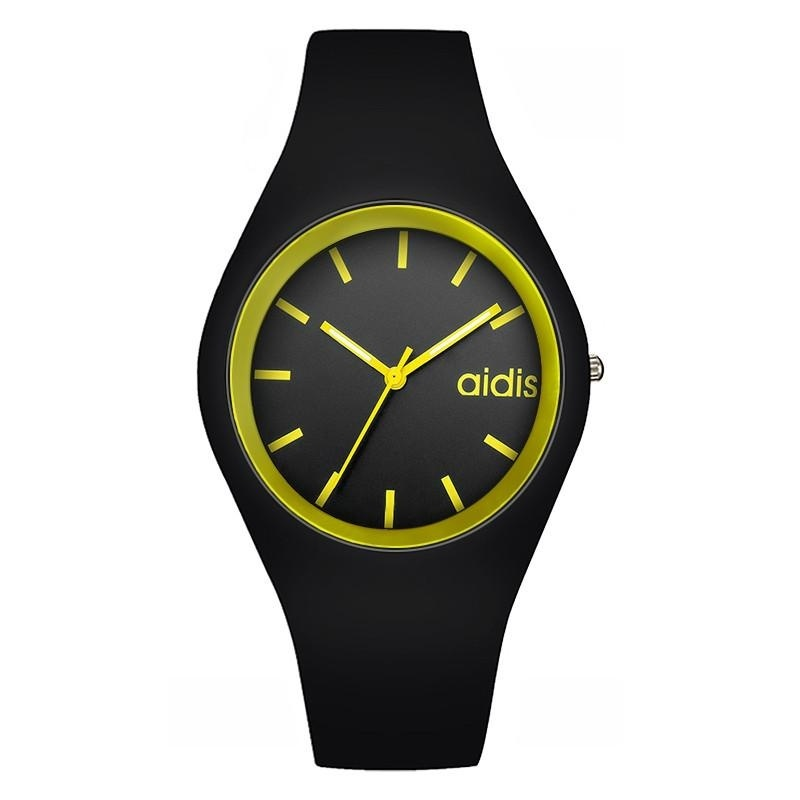Nơi bán AIDSI MY-1467 Women Sports Waterproof Quartz Watch Jelly Watch Black and Yellow - intl