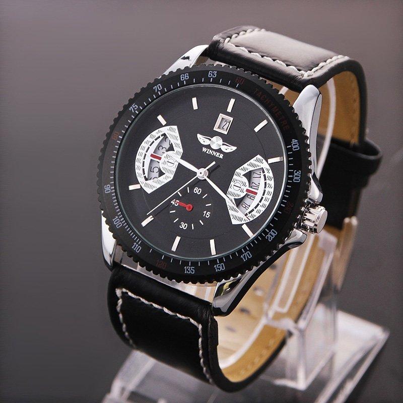Amart Men Sports Leather Automatic Mechanical Analog Wrist WatchBlack - intl